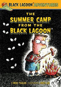 cartoon image of boy holding stick with hotdog over campfire