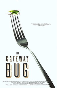 The Gateway Bug; cricket sitting on end of fork tines