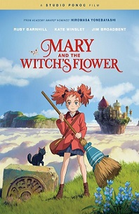 Mary and the Witch's Flower; girl holding broom with castle in background