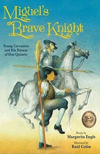 Miguel's Brave Knight; boy walking beside knight sitting on horse