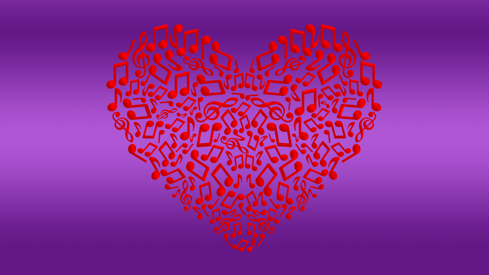 Heart filled with music notes