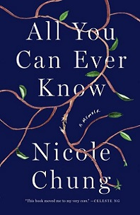 All You Can Ever Know by Nicole Chung; meandering plant vince on dark blue backgroun