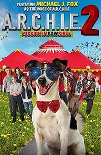 A.R.C.H.I.E. 2: Mission Impawsible; terrier dog wearing sunglasses with tent and people standing behind