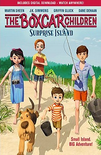 The Boxcar Children Surprise Island; four kids walking down path with dog, fishing pole, camera, and book
