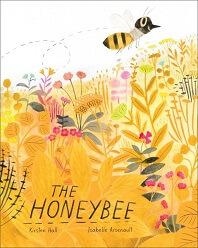 The Honeybee by Kirsten Hall; bee flying above wildflowers