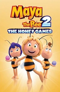 Maya the Bee 2; three bees with human faces and two holding balls