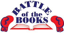 "text ""Battle of the Books"" with boxing gloves on each side and open book below text"